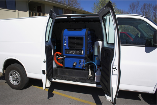 industrial carpet cleaning system in work vehicle
